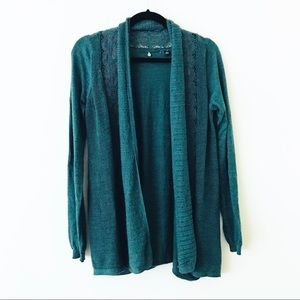 ANTHROPOLOGIE Green Lace Inset Cardigan